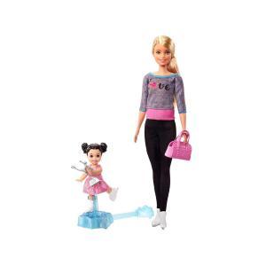 バービー フィギュアスケートの先生 インストラクター ドール 人形 女の子のフィギュア付き プレイセット アイススケート コーチ|far-out