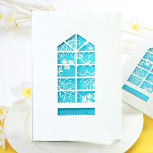 【夏挙式にぴったり】CASA-ALOHA(カーサ・アロハ) 席次表パンフレット手作りセット/結婚式 席次表|farbe