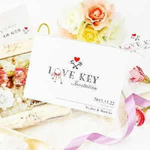 結婚式 招待状 手作り / 招待状手作りセット 「Simple line-Anniversary 愛かぎ」(1名様分) / 鍵 名入れ farbe