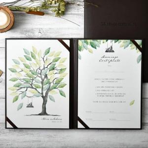 結婚証明書 ゲスト参加型サイン式「ウェディングツリー モスグリーン」/結婚式