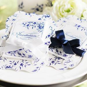 「招待状完成品オーダー」フローラ リボン(印刷つき)/結婚式|farbe