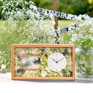 両親プレゼント[選べるフラワーアレンジ]ナチュラル花時計フォトフレーム付【木製無垢材】 | 両親へのプレゼント 結婚式|farbe