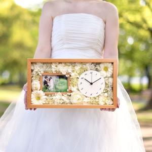 両親プレゼント[選べるフラワーアレンジ]ナチュラル花時計フォトフレーム付【木製無垢材】 | 両親へのプレゼント 結婚式|farbe|10