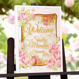 【デザインカット加工】ウェルカムボード「フィオーレ ローザ」/パーティー/結婚式|farbe