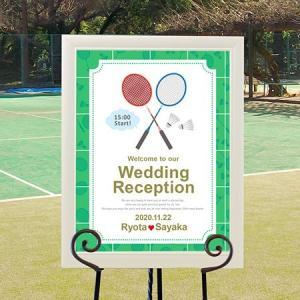 スポーツウェルカムボード パールフレーム「バドミントン」/結婚式|farbe