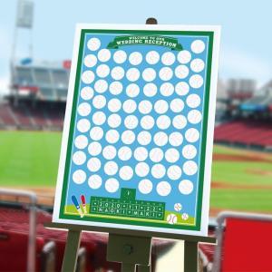 結婚式 パーティー ウェルカムボード / 寄せ書きメッセージボード「ベースボール(野球)」A2サイズ 70名様 / スポーツ|farbe