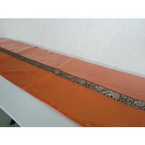 タイシルク テーブルランナー 象柄 オレンジ*オレンジ (アジアンインテリア)|faristyle