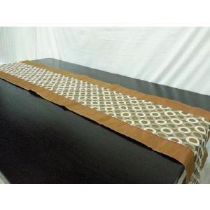 タイシルク テーブルランナー ゴールド 丸柄  (アジアンインテリア)|faristyle