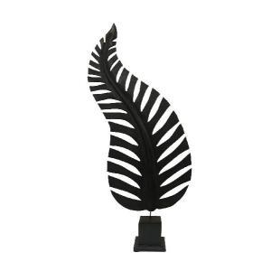 バリ島製 木彫りオブジェ ブラックリーフ L (アジアンインテリア)|faristyle