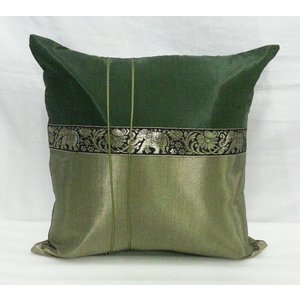 タイシルク クッションカバー 象柄 ダークグリーン*ゴールドグリーン (アジアンインテリア)カバーのみ|faristyle