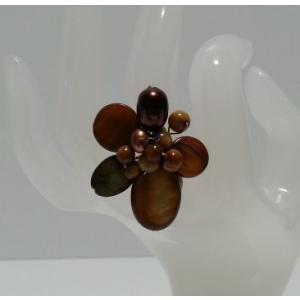 シェル使用 オリジナルリング(指輪)ブラウンシェル  (アジアンアクセサリー)|faristyle