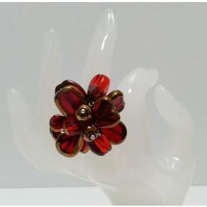 ハンドメイド樹脂使用 オリジナルリング(指輪)RED  (アジアンアクセサリー)|faristyle