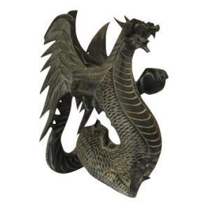 バリ島製 木彫りオブジェ ドラゴン H30 Left (アジアンインテリア)|faristyle