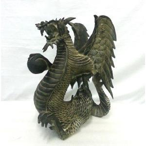 バリ島製 木彫りオブジェ ドラゴン H40 Right (アジアンインテリア)|faristyle