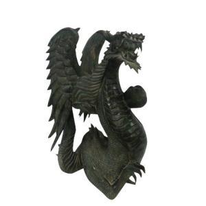 バリ島製 木彫りオブジェ ドラゴン H50 Left (アジアンインテリア)|faristyle