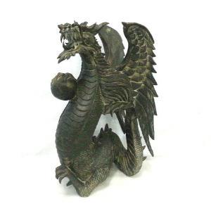 バリ島製 木彫りオブジェ ドラゴン H50 Right (アジアンインテリア)|faristyle