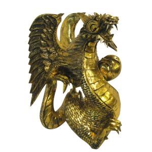 バリ島製 木彫りオブジェ ドラゴン Gold H40 Left (アジアンインテリア)|faristyle