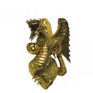 バリ島製 木彫りオブジェ ドラゴン Gold H40 Right (アジアンインテリア)|faristyle