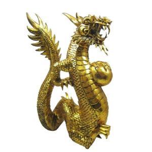 バリ島製 木彫りオブジェ 龍 Gold H40 Left (アジアンインテリア)|faristyle