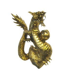 バリ島製 木彫りオブジェ 龍 Gold H50 Left (アジアンインテリア)|faristyle