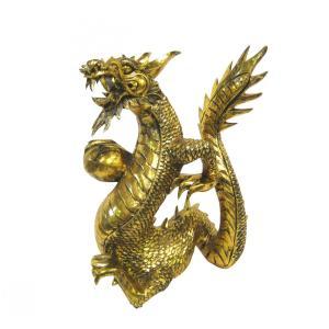 バリ島製 木彫りオブジェ 龍 Gold H50 Right (アジアンインテリア)|faristyle