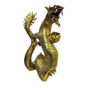バリ島製 木彫りオブジェ 龍 Gold H60 Left (アジアンインテリア)|faristyle