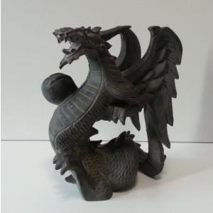 バリ島製 木彫りオブジェ ドラゴン H20 Right (アジアンインテリア)|faristyle