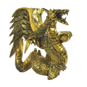 バリ島製 木彫りオブジェ ドラゴンGold H20 Left (アジアンインテリア)|faristyle