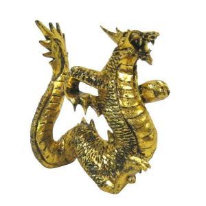 バリ島製 木彫りオブジェ 龍Gold H20 Left (アジアンインテリア)|faristyle