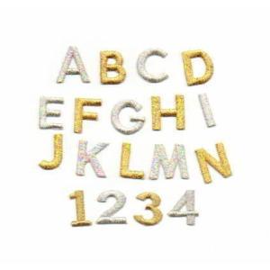 きらきら☆【ゴシック体】【3cm】アルファベット数字の刺繍ワッペン|farnnie-ya