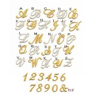 【刺繍】【中】きらきら筆記体のイニシャル数字アイロンワッペン|farnnie-ya