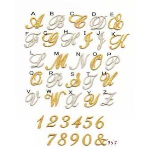 【刺繍】【小】きらきら筆記体のイニシャル数字アイロンワッペン