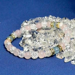 パワーストーン ローズクォーツブレスレット  天然石 最高級 アクアマリンAAAAA クラック水晶 ローズクォーツ ブレスレット|fashion-cloak