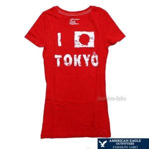 アメリカンイーグル AMERICAN EAGLE レディース 女性 Tシャツ 半袖 半そで レッド 赤色 tokyo 東京 0303-196 おしゃれ ヴィンテージ fashion-labo