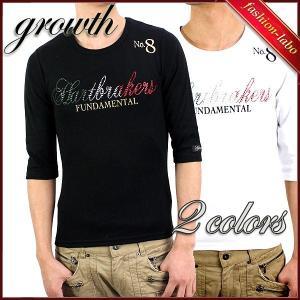 Tシャツ メンズ 6分袖ホットフィット ロゴデザイン Uネック growth タイト スリムフィット ブラック ホワイト 2466 fashion-labo