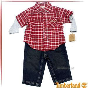 ティンバーランド ボーイズ 重ね着風シャツデニム 2ピースセット ベビー服 41672069-53t fashion-labo