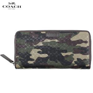 コーチ COACH 長財布 財布 ラウンドファスナー 74546boi メンズ グリーン カモフラージュ 迷彩 レザー 革 本革 ブランド|fashion-labo