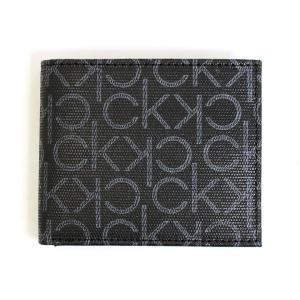 カルバンクライン Calvin Klein CK 財布 二つ折り財布 メンズ レザー 本革 モノグラム ロゴ ブラック 黒色 ブランド 79463 fashion-labo