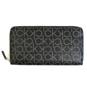 カルバンクライン Calvin Klein CK 財布 長財布 ラウンドファスナー メンズ レザー 本革 モノグラム ロゴ ブラック 黒色 ブランド 79468 fashion-labo