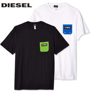 ディーゼル DIESEL Tシャツ メンズ 半そで 半袖 ロゴ  ホワイト 白 ブラック 黒 トップス ブランド 00ST5I 0NAVJ 100 BMOWT-JUST-B fashion-labo