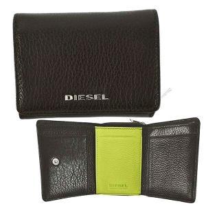 ディーゼル DIESEL 財布 三つ折り財布 折りたたみ財布 X06639 メンズ ブラウン 羊革 シープスキン 本革 ロゴ ブランド ミニ財布 fashion-labo