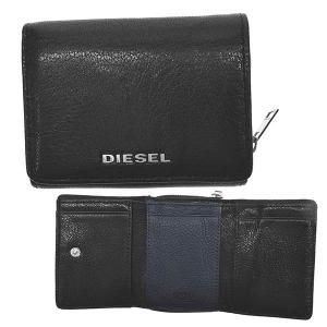 ディーゼル DIESEL 財布 三つ折り財布 折り財布 X06639 メンズ ブラック ブルー 羊革 ブランド fashion-labo
