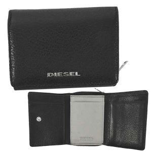 ディーゼル DIESEL 財布 三つ折り財布 折りたたみ財布 X06639 メンズ ブラック 黒 グレー 羊革 シープスキン 本革 ロゴ ブランド fashion-labo