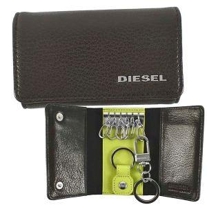 ディーゼル DIESEL 6連 キーケース キーホルダー X06640 メンズ ブラウン グリーン シルバー 羊革 シープスキン 本革 ロゴ ブランド fashion-labo