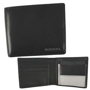 ディーゼル DIESEL 財布 二つ折り財布 折りたたみ財布 X06757 メンズ ブラック 黒 レザー 本革 羊革 シープスキン ロゴ ブランド fashion-labo
