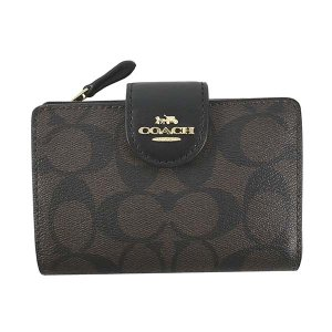 コーチ COACH 財布 二つ折り財布 折りたたみ財布 C0082 レディース ブラック ブラウン ゴールド シグネチャー ロゴ ブランド|fashion-labo