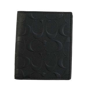 コーチ COACH 財布 二つ折り財布 折りたたみ財布 11970 メンズ ブラック 黒 レザー 本革 子牛革 ロゴ ブランド|fashion-labo