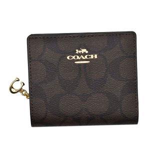コーチ COACH 財布 二つ折り財布 折りたたみ財布 C3309 レディース ブラック ブラウン ゴールド シグネチャー ロゴ ブランド ミニ財布|fashion-labo