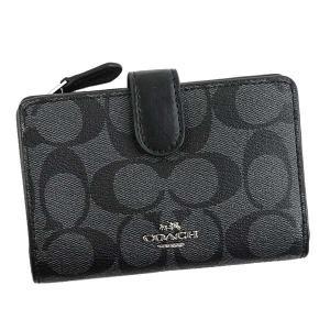 コーチ COACH 財布 二つ折り財布 折りたたみ財布 23553 レディース ブラック グレー ゴールド シグネチャー ロゴ ブランド|fashion-labo