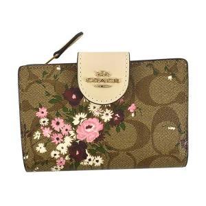 コーチ COACH 財布 二つ折り財布 折り財布 C3773 レディース ベージュ ピンク 花柄 フラワー ブランド|fashion-labo